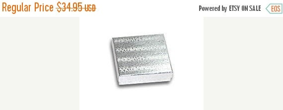 Halloween Stock Up Sale 100 Pack Silver Foil 3.5 X 3.5 X 1 Inch  Size Cotton Filled Jewelry Presentation Gift Boxes