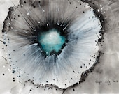 Ink painting on canvas A4 (11,6x8,3in) - abstract eye - cyan blue glow in black
