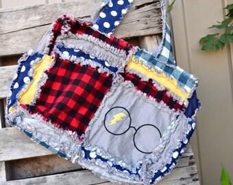 Wizard Diaper Bag - Gray / Navy / Yellow / Red Diaper Bag - Glasses Diaper Bag - Baby Diaper Bag - Baby Boy Diaper Bag - Boy Diaper Bag