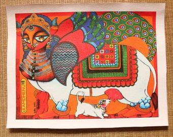 Kamdhenu Wish granting cow Goddess CANVAS Print
