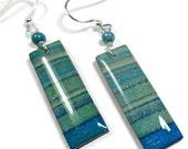 Turquoise Dangle Earrings- polymer clay jewelry- Resin earrings- Polymer Clay Earrings- Ready to Ship- Earth tones Earrings
