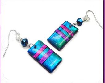 Blue Dichroic Earrings- polymer clay jewelry- Resin earrings- Rainbow Earrings