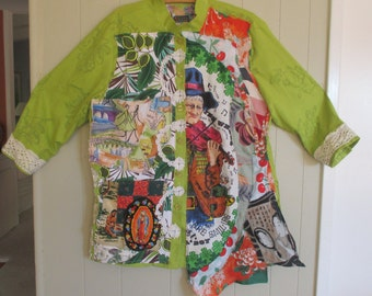irish jig dance - COLLAGE CLOTHING Artisan Smock  - Ireland Linen Wearable Folk Art - myBonny random scraps of fabric