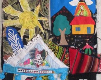 mi casa Cottage Chic Collage - Southwest Mexico Decor - Altered Vintage Fabric Folk Art -Patchwork Crazy Quilt Primitive Hanging - myBonny