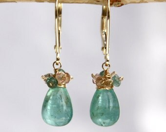 Emerald Earrings with Sapphires in 14K Solid Yellow Gold
