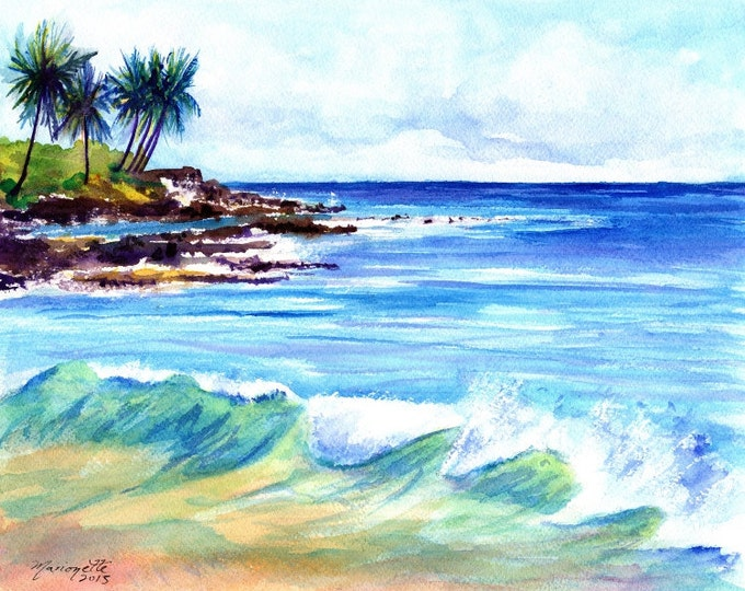 Brennecke's  Beach - Poipu Kauai Hawaii - 8 x 10 Art Print - Beach Wave Art - Kauai Surfing Art - Beach Sand Ocean Print - Hawaiian Decor