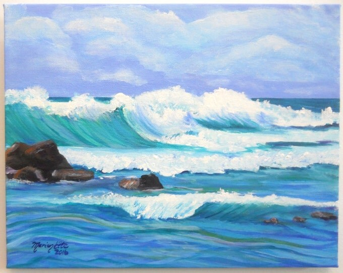 Original Acrylic Painting from Kauai Hawaii  - Kauai Big Surf - Hawaiian Beach Paintings - Ocean Wave Art - Hawaiian Decor - blue teal Poipu