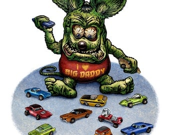Hot Wheels 8 x 10 Signed Print -Rat Fink Playing with Hot Wheels Cars