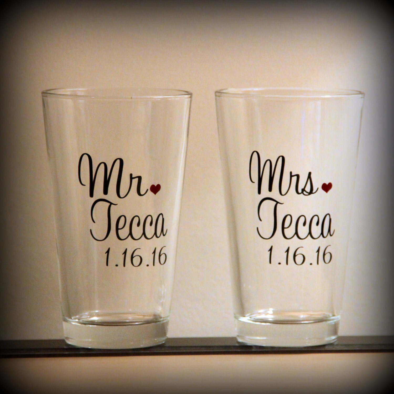 Personalized Mr And Mrs Beer Toasting Glasses... By