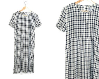 90s plaid dress navy + cream side slit t-shirt midi dress small