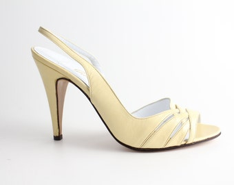 sz 6.5 - 7 | Garolini Leather Sandal | Vintage 1970s Pastel Leather High Heel Shoes | 37 - 37.5