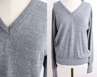 Vintage Heather Gray Pullover Sweater | Classic V-Neck Knit Top | 1970s Raglan Sleeve Jumper | S-L
