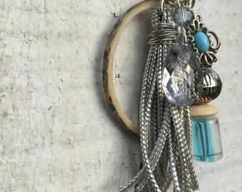 Bead and Tassel Charm Cluster Pendant Key Chain or Purse Zipper Charm Blue Silver