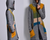 casa batllo - quilted woolen jacket hoodie / patchwork woolen coat / thermo lining woolen sport jacket / idea2lifestyle hood jacket (Y1592)