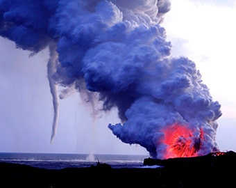 Nature Photography Hawaii, Big Island Kilauea Volcano - Lava Explosion with Water Spout - Large Fine Art Photograph - Made in Hawaii - Gift