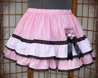 Pink bear gothic lolita skirt