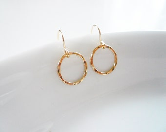 Gold Circle Earrings - Hammered Gold Circle Earrings, 14K Gold Filled Circle Earrings, Gold Earrings