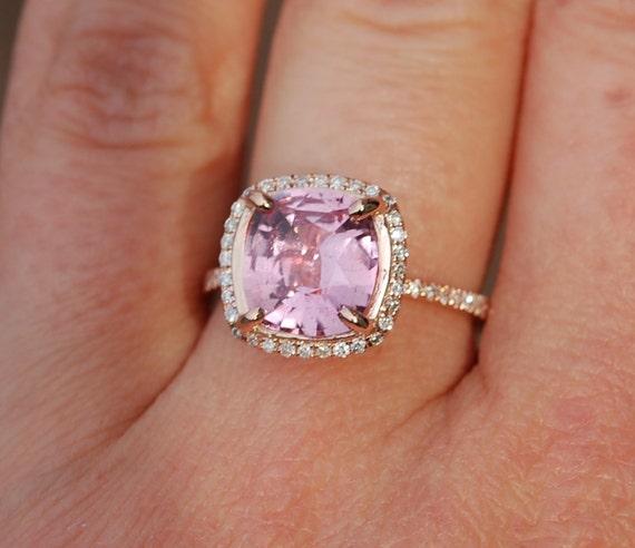 Square Cushion Raspberry Peach Sapphire 14k rose gold diamond  Engagement Ring