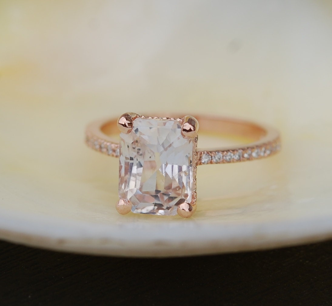 Blake Lively Ring White Sapphire Engagement Ring Emerald Cut 14k Rose Gold  Diamond Ring 311ct Sapphire Ring