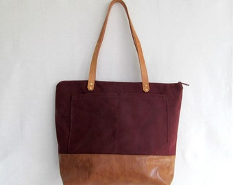 Waterproofed Canvas Shoulder Bag // Sara D. Handbag in Merlot // Canvas and Faux Leather Handbag // TOTE