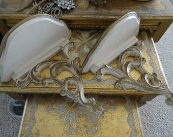 Vintage Pair Shabby Cottage Chic Ornate Wall Sconces