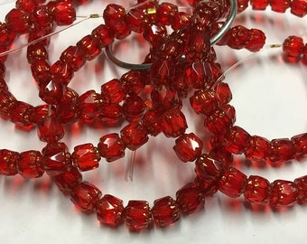 Siam Red Cathedral Crystal Beads Czech Pressed Glass 6mm 25 beads