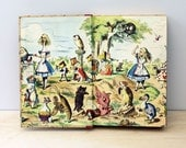 Alice in Wonderland and Through the Looking Glass. Vintage 1940s childrens book. Lewis Carroll, Tenniel illustrations.