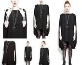 SALE 20% Babooshka Minimal Discoid Mini Dress Tunic Modern Poncho Black on Black Witchy Tunic Shirt Asymmetric Cape T-Shirt Knit Premium Kni
