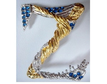 Erte, sterling silver, gold vermiel, sapphire crystals, custom made necklace, letter Z