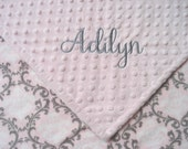 Personalized Minky Baby Blanket Pink Vine  Damask