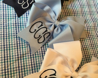 Embroidered Monogrammed School Hair Bow Big Boutique Personalized