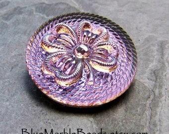 Shank Less Button-Shamrock Button-4 Leaf Clover-St Patricks Day-Irish-Czech Glass Button-Glass Cabochon-Purple-Blue-Vintage Glass Button-1