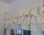Ivory Ruffled Curtain READY to SHIP Multi Ruffle Curtain Window Treatment Natural Cotton Ruffled Valance French Prairie Cottage Chic 17 x 37