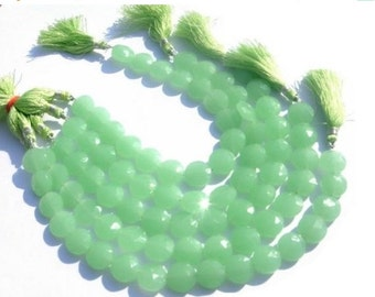 55% OFF SALE 8 Inches - Aqua Green Chalcedony faceted coin beads Size 13mm approx