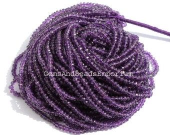 14 Inches Natural African Amethyst Micro Faceted Rondelles Beads Size 3.5mm Semiprecious Gemstone Beads at wholesale price