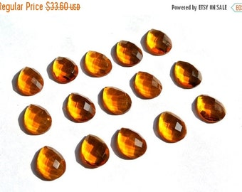 55% OFF SALE 10Pcs 5 Match Pair 13x10mm High Quality AAA Beer Quartz Rose Cut Faceted Pear Briolette - Drill Hole You Choose