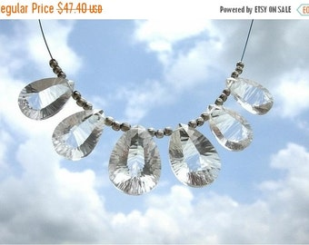 55% OFF SALE Manufacturer Price 3 matched Pair 6 Pieces of AAA Rock Crystal Quartz Both Side Concave Cut briolettes 14x10 - 17x12mm approx