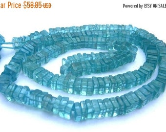 55% OFF SALE 16 Inches Strand -  Finest Quality Natural Caribbean Blue Apatite Square Heishi Cut Beads Size 4 - 5,5mm approx