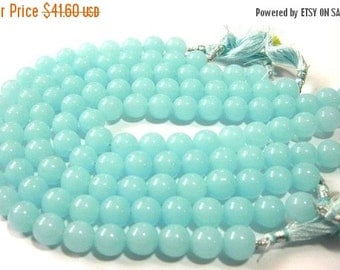 55% OFF SALE 1/2 Strand - Aqua Blue Chalcedony smooth round beads 12 Pcs Size 12mm approx