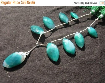 55% OFF SALE 8 Inches -  Shaded Green Chalcedony Faceted Marquise Briolettes Size 18x9 - 30x16mm approx