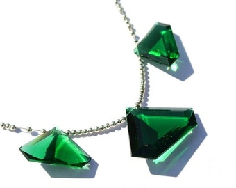 50% Off Valentine day 3Pcs Set AAA Green Quartz Faceted Diamond Shaped Briolettes Size 35x26 - 26x18mm Approx Trio, Match Pair, Focal Pendan