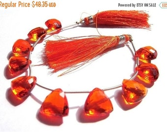 50% Off Valentine day 10 Pieces/5 Matched Pair of AAA Juicy Orange Quartz Faceted Trillion Briolettes 12x12mm approx