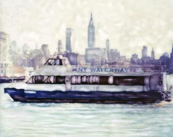New York Waterway  - Polaroid SX-70 Manipulation - 8x8 Fine Art Photograph, Wall Decor