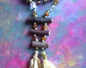 Earth Fairy Soft Goddess statement necklace with gemstone, silk and wood