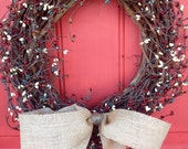 Spring Wreath, Pip Berry Wreath, Wreaths, Rustic Wreath, Door Wreath, Primitive wreath, Front Door Wreath, Summer Wreath, Wreath for Door