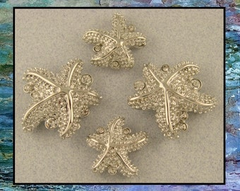 2 Hole Beads Starfish Silver with Clear Swarovski Crystal Elements ~ OCEAN ~ Metal Sliders QTY 4     (SKU 507551745)