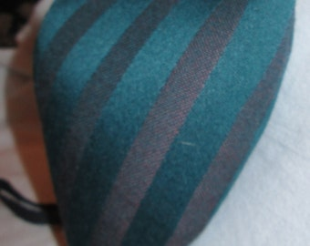 Renaissance Padded Teal and Maroon Striped Wool Blend Codpiece with Ties