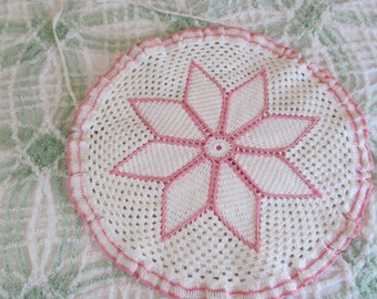 Vintage Pink White Ruffle Lace Crocheted Pillow Cover or Toilet Lid Cover