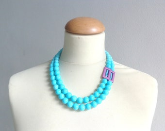 chunky turquoise necklace statement style, wedding necklace purple turquoise double strand