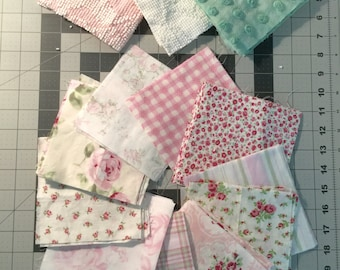 Vintage and Shabby Chic Pink Green White 5 inch Squares -  Chenille, House Inc., Decorator Cottage Cotton Quilt Fabric Blocks